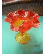 Beautiful Vintage FENTON Amberina Ruffled Edge Compote / Candy Dish - $16.42
