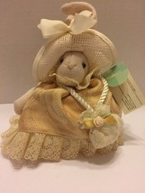 "Russ Li'l Elegance Bunny Lace Hat and Peach  Dress Green Ribbon Purse 6.5"" Tall - $6.79"