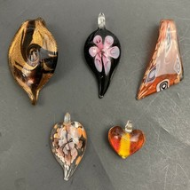Glass Pendant Lot Dichroic Blown Art Floral Heart Pink Red Brown Swirl S... - $29.65