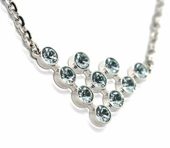 REBECCA BRONZE NECKLACE, TRIANGULAR CENTRAL WITH LIGHT BLUE CRYSTALS, BPBKBL05 image 2