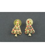 Vintage Jewelry Christmas Tree Earrings Gold Tone Red Green - $11.72