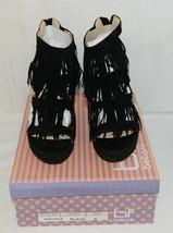 BF Betani Shiloh 8 Black Fringe Wedge Heel Sandals Size 6 image 1