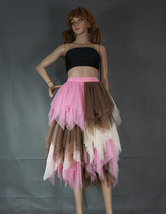 Tiered Elastic High Waist Tulle Skirt Women's Hi-lo Layered Holiday Formal Skirt image 9