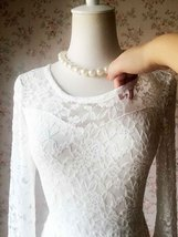 Ivory White LACE DRESS Long Lace Dress Bohemian Beach Dress Long Sleeve Wedding image 6