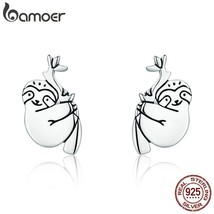 Hot Sale 925 Sterling Silver Lovely Sloth Animal Small Stud Earrings for... - $15.44