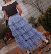 Dusty Blue Layered Tulle Skirt Dusty Blue Wedding Tulle Skirt Outfit Plus Size image 1
