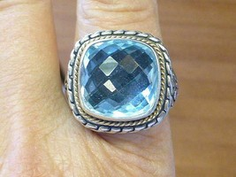 EFFY Blue Topaz 18k & Sterling Silver Ring Size 8 1/4 - $269.99
