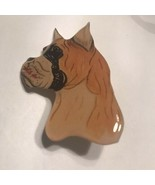 Handmade Resin Boxer Dog Brooch Pin Head Profile Hand Drawn Design J1751... - $7.59
