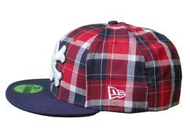 Dissizit Dx11 OS Marine Rouge Plaid NEW ERA 59FIFTY Ajusté Baseball Chapeau Nwt image 3