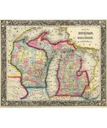 County Map Of Michigan And Wisconsin - 1860 - Map Poster - $9.99+
