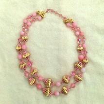 Vintage 50s Pink Swarovski Crystal Bead Necklace, 2 Strand Glass Enamel ... - $89.99