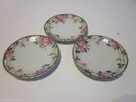 Vintage Set Of 3 Hand Painted Nippon Porcelain Pink Rose Design Saucers - $9.99