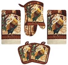 Farm Rooster Kitchen Decor Linen Set Includes 2 Dish Towel 2 Pot Holders... - $9.86