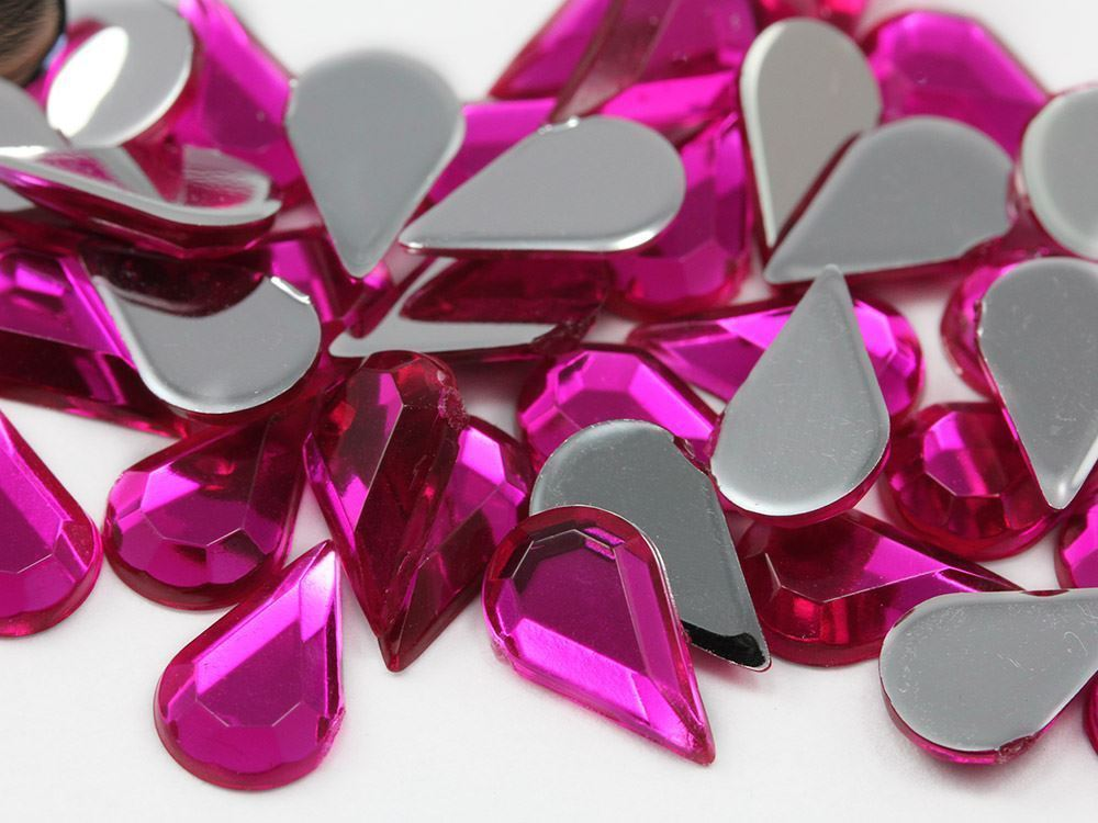 10x6mm Pink Fuchsia H108 Flat Back Teardrop Acrylic Gemstones  - 100 Pieces