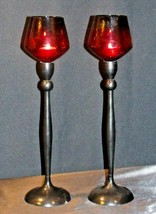 Red Cut Glass Candlestick Holders AB 312 Vintage