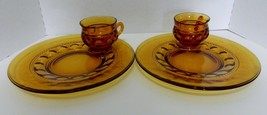 Indiana Glass Amber Kings Crown Thumbprint Snack Set Cups and Plates Set... - $19.68