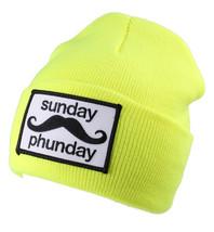 Team Phun Sunday Arancione Neon Rosa Giallo Verde Skullie Cappello Berretto NW