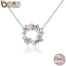 BAMOER 925 Sterling Silver Pink Poetic Cherry Blossom Wreath & Daisy The... - $24.50