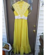 70s boho hippie prairie yellow maxi dress with  victorian style  eyelet ... - $45.60