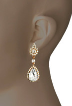 "2"" Long Vintage Inspired Clip On Earrings Clear Crystals Wedding, Bridal,Prom - $15.20"