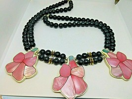 Black Beaded Necklace With Large Pink Enamel Flowers - $32.55
