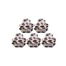 5Pcs Lovely Leopard Mini Fringe Bangs Jaw Clips Hair Styling Claws, Beige - $13.76