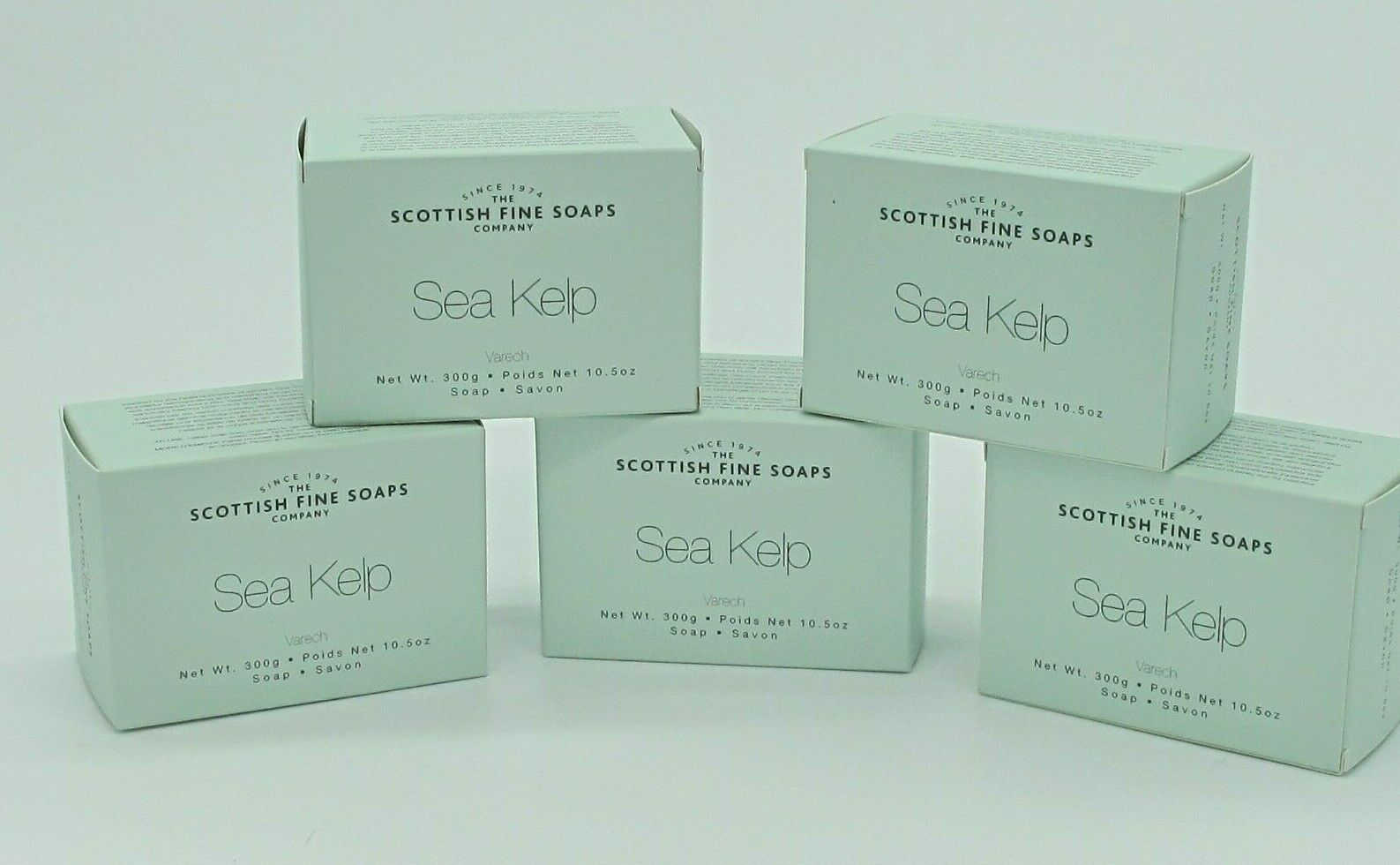 The Scottish Fine Soaps Sea Kelp Varech bar soap lot of 5 x 300g 10.5 oz