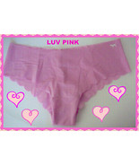 M Carnation Pink SCALLOPED NOSHOW Victorias Secret PINK LowRise Cheekste... - $10.99