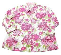 Talbots Woman Petite Stretch Floral Button Down Shirt Plus Size 16W - $19.24