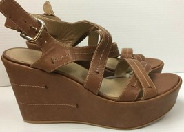 Stuart Weitzman Leather Brown Spain Wedge Platform Sandals Women's 9.5 - $87.11