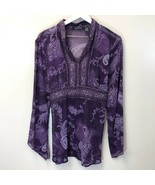 The In Shop Women's Large Purple Paisley Sequin and Beaded V-Neck Blouse... - $14.47