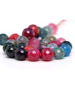 6mm Natural Multicolor Cracked Agate Beads Grade A Faceted Round Loose B... - $16.42