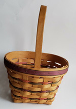 Longaberger Spring Easter Basket Oval Red Purple Green Weave Protector 1995 - $34.60