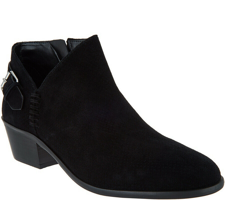 Vince Camuto Suede Booties with Buckle Detail - Parveen Black 8 M - $69.29