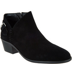 Vince Camuto Suede Booties with Buckle Detail - Parveen Black 8 M - £55.63 GBP