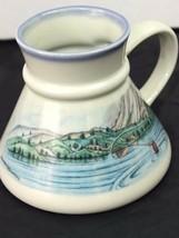 Otagiri Japan Mug Painted Fisherman In Water Scenery No Tip Bottom Vinta... - $17.39