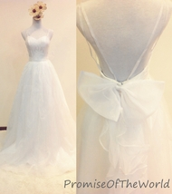 Spaghetti straps bow wedding dress lace organza bridal gown low back bri... - $239.99