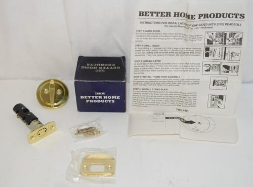 Better Home Products 10803PB One Sided Deadbolt Polished Brass