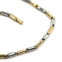 18K YELLOW WHITE GOLD CHAIN NECKLACE ROUNDED ALTERNATE TUBE LINKS, 60 cm... - $1,248.00