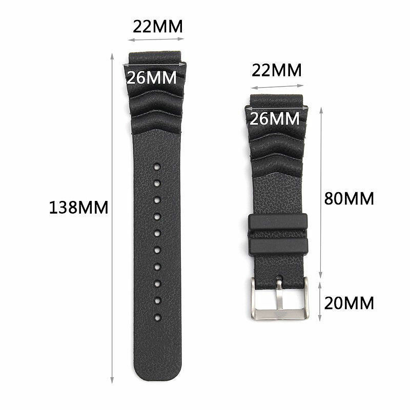Watch Band Black Replacement Strap Bracelet Part Wristband Wave Vent For SEIKO