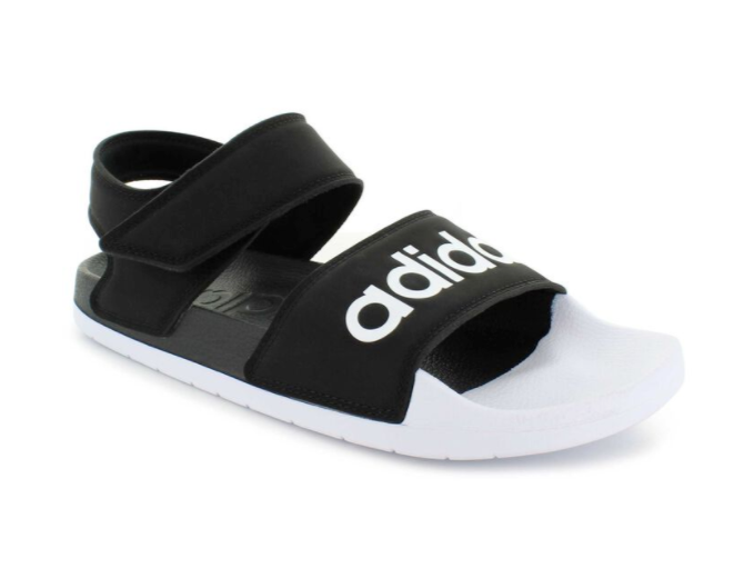 New In Box Women's Adidas Adilette Sandal Black and White Supercloud Cushioning! - $39.87