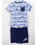 LANDS' END Outfit Set Shark Ocean Summer T-Shirt + Knit Shorts Youth Boy... - $28.71