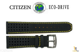 Citizen Eco-Drive B612-S084059 23mm Black Leather Watch Band w/ Yellow S... - $79.95