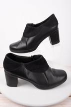 Clarks Womens Bendables Clogs Booties Shoes Sz 6 Black Leather Zip Up 62862 - $34.65