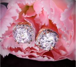 4.20Ct Round Moissanite Diamond Basket Halo Stud Earrings 18K Rose Gold ... - $123.49