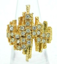 VTG Gold Tone Clear Rhinestone Modern Abstract Ring Size 6.25 - $19.80
