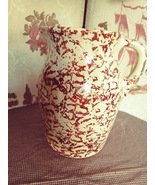 Spongeware Tan and Brown Pottery Pitcher unmarked - $25.00