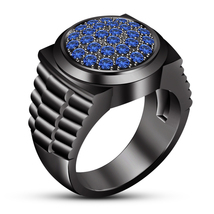 Blue Sapphire Mens Engagement Ring Band Black Rhodium Finish 925 Sterlin... - £76.37 GBP