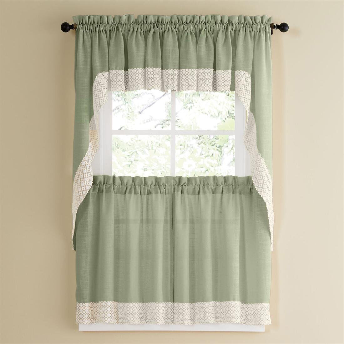Primary image for Salem Kitchen Curtain - Sage w/White Lace Trim - Lorraine Home Fashions