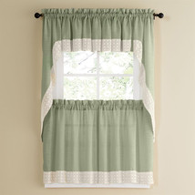 Salem Kitchen Curtain - Sage w/White Lace Trim - Lorraine Home Fashions - $14.09+